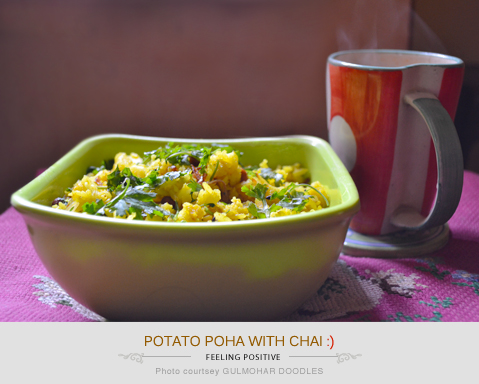 Potato poha with chai