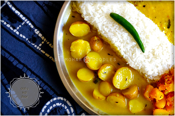 aalu ka jhor, aalu jhor, aalu ki gravy, aalu ki sabzi, aalu ki sabji, chote aalu ki sabji, chawal k gravy wali aalu ki sabji, small potatoes cooked in rice paste gravy, gravy, chote aalu, small potatoes, Jharkhand ka khana, Bihar ka khana, Jharkhandi khaana, Bihari khana, Dehati khana, naasta, khana, ghar ka khana, savouries, lost recipes, recipes, local food, healthy, authentic, nostalgia, winter food, lunch scenes, Indian, India, Indian food, comfort food, food love, Gulmohar Doodles, Puneeta Prakash Blog